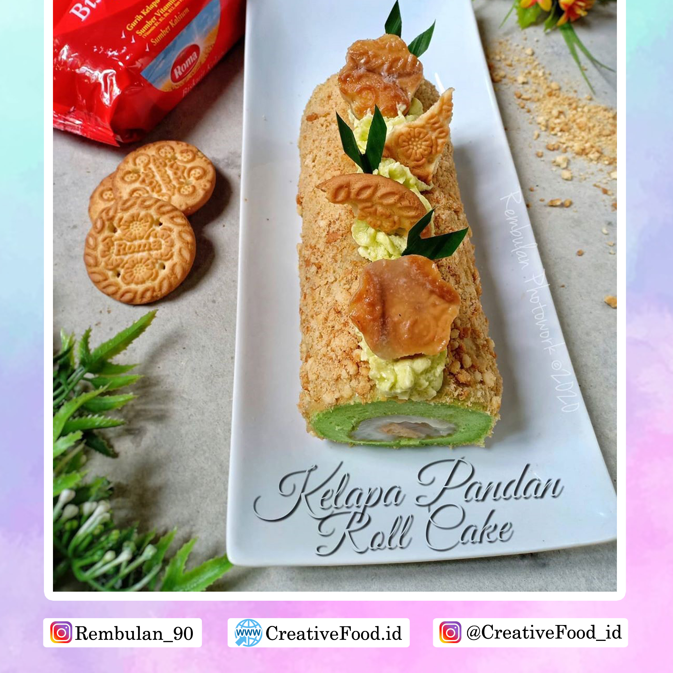 Roll Cake Kelapa Pandan Roll Cake Creative Food